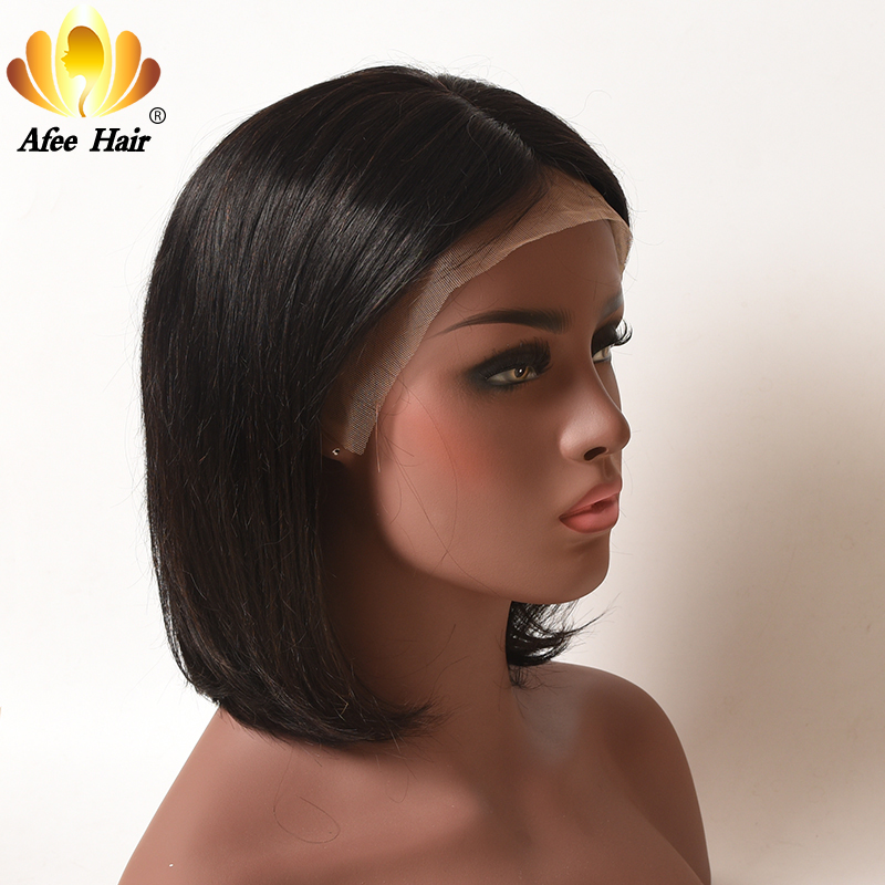 AliAfee Hair 150% Density Wigs Brazilian Straight Hair Lace Front Human Hair Wigs 10 12 Short Bob Wig Natural Color Remy Hair