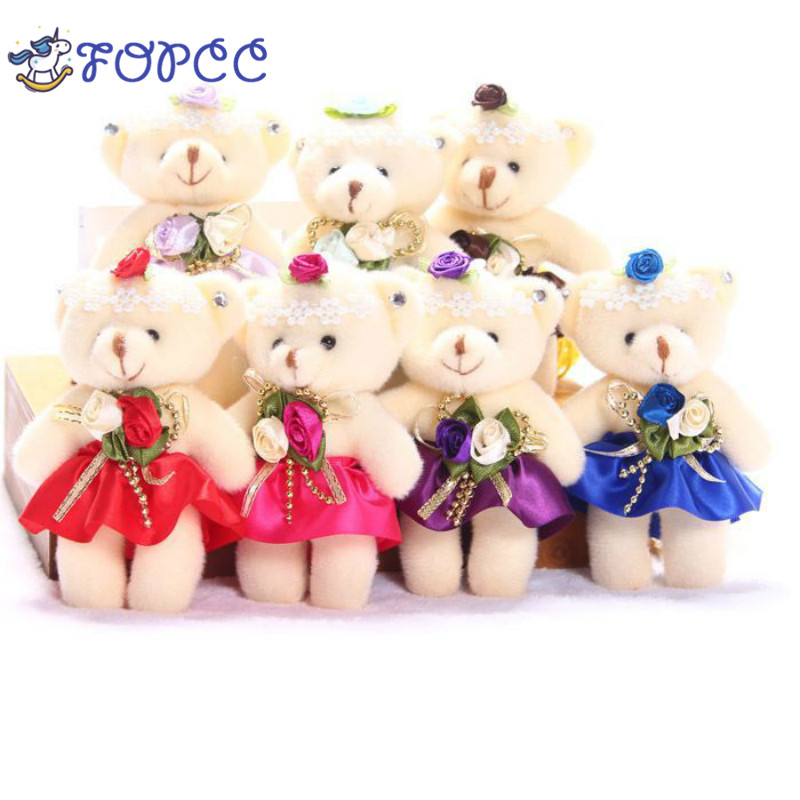 10 colors For 1Pcs Gift 12CM pp cotton kid toys plush doll mini small teddy bear flower bouquets bear for wedding home doll hot 1 couple 33cm wedding bear high quality plush toys standing lovers bear plush cloth doll wedding present lover birthday gift