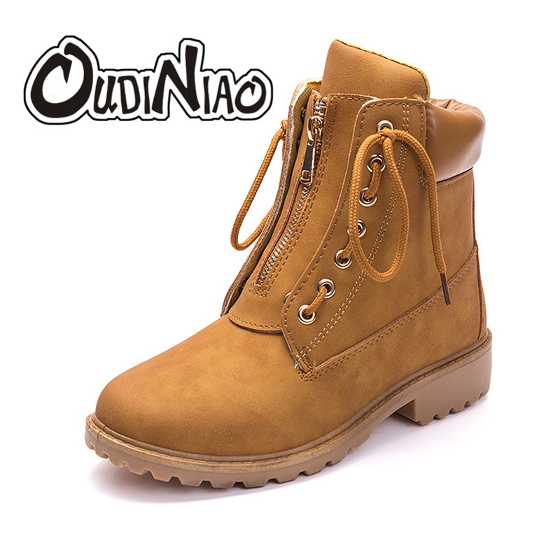 OUDINIAO New 2018 Autumn Early Spring Shoes Women Flat Heel Boots Fashion Women's Boots Brand Woman Ankle Botas Lace Up Boots euro style spring autumn women ankle boots platforms square heel ankle boots lace up fashion motorcycle boots martin shoes