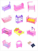 1pcs Fashion Plastic Bed Bedroom Furniture For Girl Dolls Dollhouse Pink Yellow Purple Girl Birthday Gift Pillow Sleepwear(China)