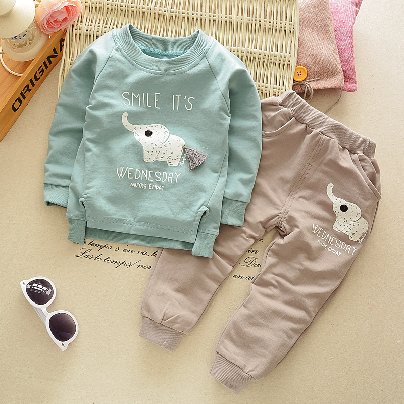 2016 New Autumn Spring baby children boys girls Cartoon Elephant Cotton Clothing Sets T-Shirt+Pants Sets Suit 12M-4T 2017 new cartoon pants brand baby cotton embroider pants baby trousers kid wear baby fashion models spring and autumn 0 4 years