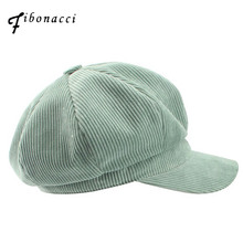 Fibonacci 2017 Retro High Quality Corduroy Beret Solid Newsboy Octagonal Hat Women Cap For Men The French Artist Beret