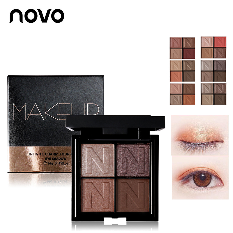 NOVO 4 Color Professional Long-lasting Matte Glitter Eyeshadow Palette Shimmer Cosmetic Naked Makeup Smoky Shining Eye Shadow