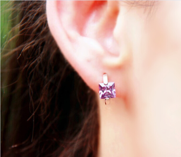 Silver Plated Square Cut Amethyst Purple Topaz Hoop Huggie Earrings Gtle321 In Drop From Jewelry Accessories On Aliexpress Alibaba Group