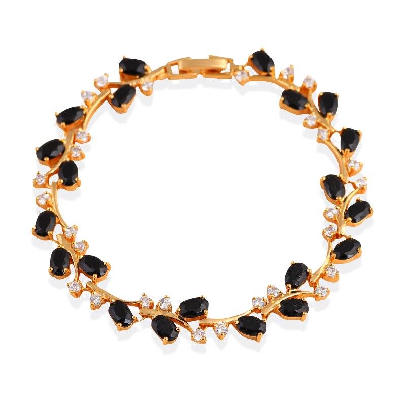 Mysterious Design Black Onyx Bracelets K Gold Plated Black Zircon Health Nickel Lead Free Fashion Jewelry