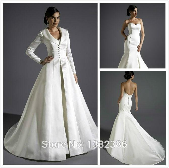 Hotwinter beige simple long sleeve satin plain wedding for Coats for wedding dresses