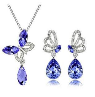 Fashion New Austrian Crystal Butterfly Earrings Pendants Necklaces For Women Jewelry Sets CS211B12 ABC