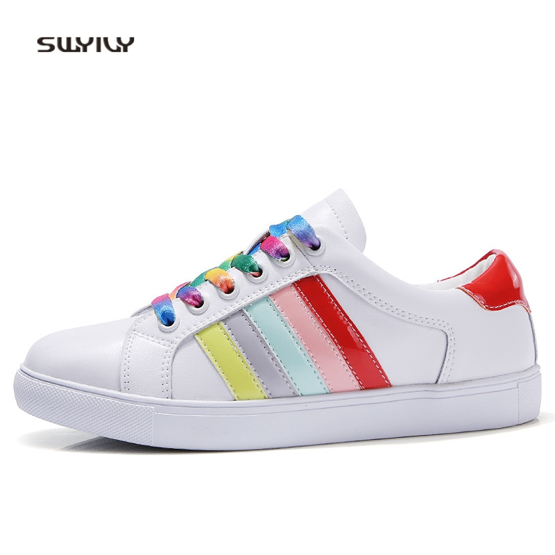 SWYIVY Women s Shoes White Casual Sneakers Genuine Leather Rainbow Color  Female Fashion Canvas Shoes Flat 2018 Spring Sneakers-in Women s Vulcanize  Shoes ... 82df03be282b