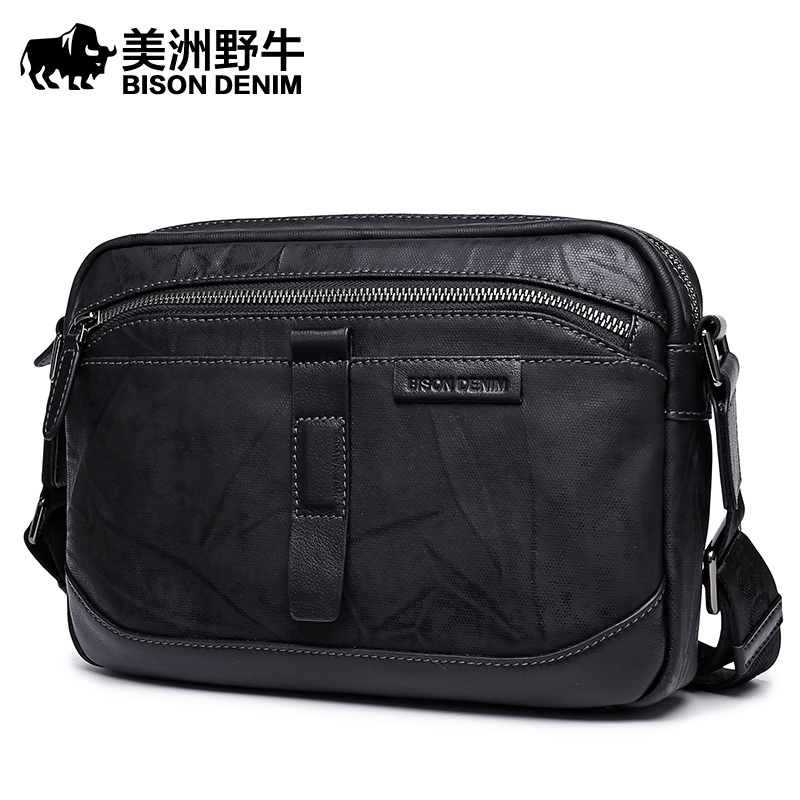 Brand BISON DENIM 2017 New Large Capacity Men Leather Shoulder Bag Casual Travel Messenger Bag Men's Crossbody Bag Free Ship  цена