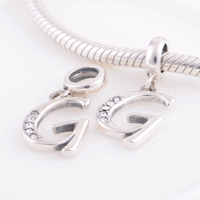 783187270489f US $9.36 |Fits Pandora Charms Bracelet Necklace Authentic 925 Sterling  Silver Beads Alphabet Letter G Charm Pendant DIY Jewelry Making-in Beads  from ...