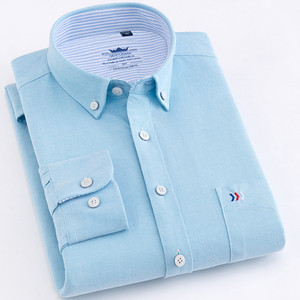Image 3 - Chemise à manches longues pour homme, style décontracté en coton, avec poche frontale, coupe régulière, Oxford, bonne qualité, 2020