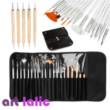 Professional 20 Pcs Nail Art Design Painting Fine Detail Drawing Brushes Dotting Pen Tips Tools Kit Set Pouch
