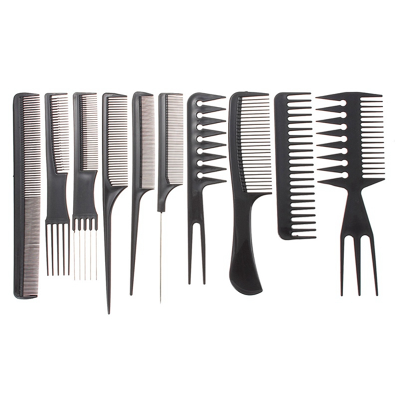 10pcs Comb Set Black Plastic Salon Hair Barbers Hairdressing Hair Barbers Styling Tools New