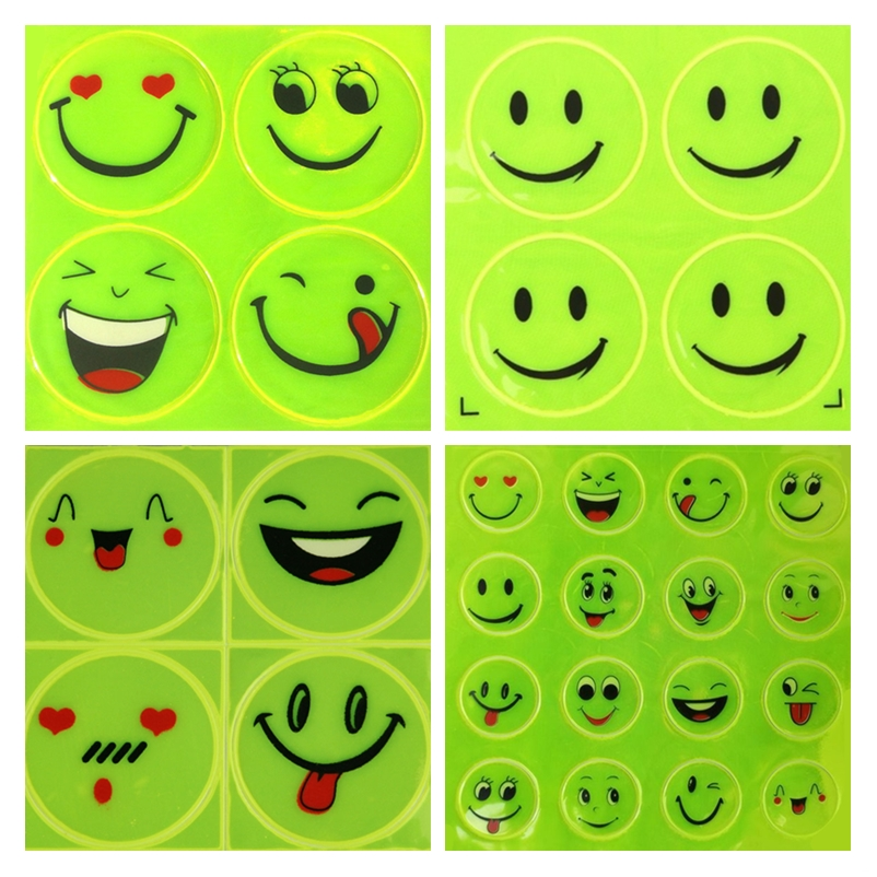 2Sheet/Set Funny Reflective Bicycle Bike Sticker Smiling Face Pattern Night Riding Decal Night Riding Roadway Safety Sticker