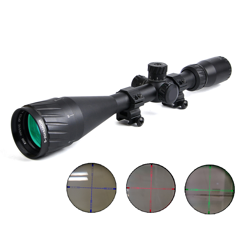 Hawke 5-20X50 AOIR Rifle Scope Red &Green&Blue Optical Sight Riflescope Hunting Scopes for Airgun Air Rifle airsoft hunting shooting scope 4 5 18x44 aoir tactical optical riflescope red