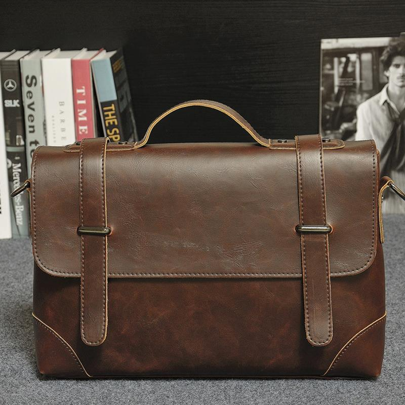 Bag For Office Men Leather Briefcase Men's PU Leather Handbag Satchel Crazy Horse Messenger Bag Classic Shoulder Bag