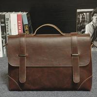 Bag for Office Men Leather Briefcase Men's PU Leather Handbag Satchel Crazy Horse Messenger Bag Classic Shoulder Bag
