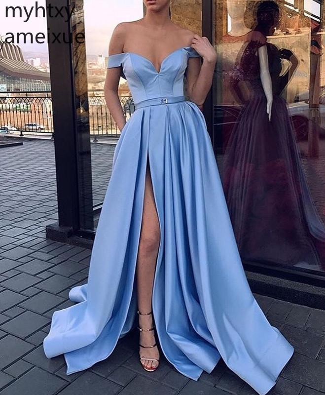 2019 New Blue Gown Evening Dresses Long V-neck Sweep Train Short Floor-length Satin Natural The Shoulder Simple Robe De Soiree