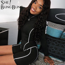 SheBlingBling Summer Women Fitness Playsuit 2019 Sport Workout Rompers Womens Jumpsuit Stripe Print Long Sleeve Sexy Bodysuit(China)