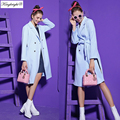 King Bright Brand New Fashion Casual Windbreaker Long Trench Coat The High Quality Autumn And Winter Blue Trench Women Coat S-XL