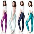 Las mujeres de Talle Alto Discoteca Brillante Resplandor de Neón Leggings Wet Look Pantalones Lápiz Caliente Completo 8 Colores
