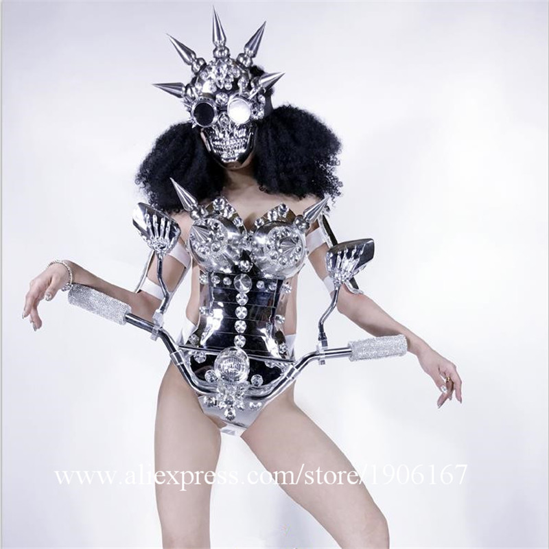 Sexy Lady Silver MirrorLocomotive Head Clothes Skull Mask Ballroom Dance Dress Party Robot Suit Performance Wears DS Costume