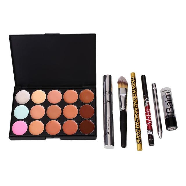 Makeup Lips 15 Colors Concealer Palette Kit Lip Gloss Eyeliner Eyebrow Tools