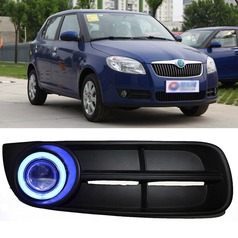 Ownsun COB Angel Eye Rings Projector Lens with 3000K Halogen Lamp Source Black Fog Lights Bumper Cover For Skoda Fabia 2008-2011 ownsun innovative super cob fog light angel eye bumper cover for skoda fabia scout