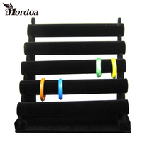 1Pc Black 5 Tier Velvet Bracelet Chain Watch T bar Rack Jewelry Hard Display Stand Holder Jewelry Organizer Hard Display Stand