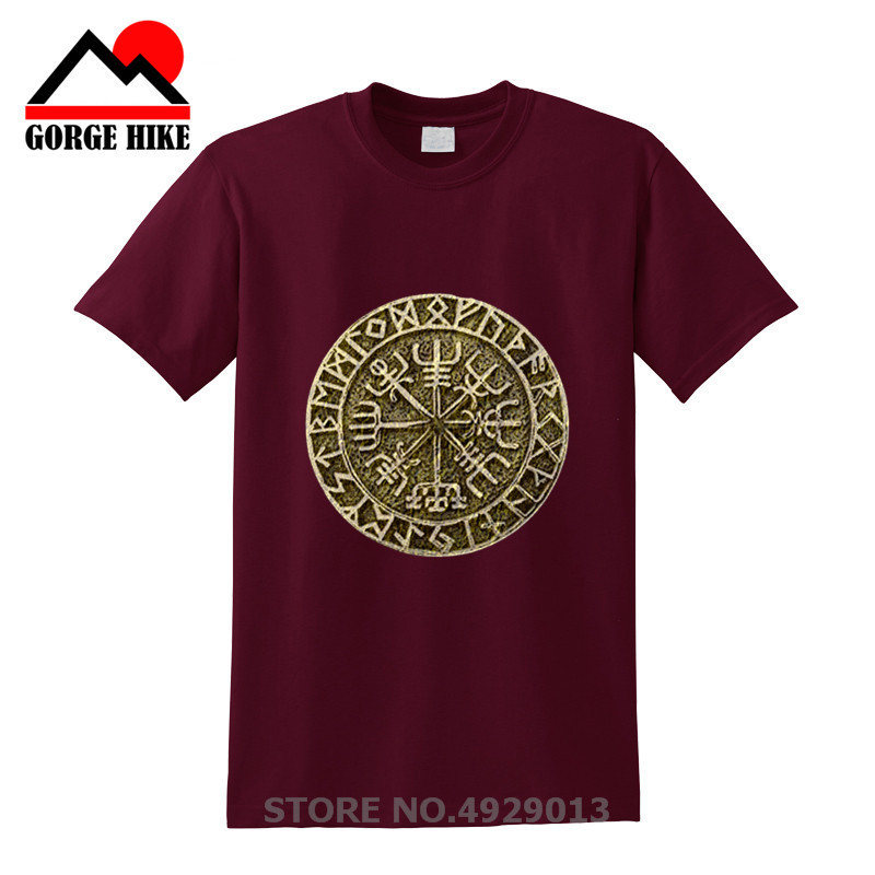 Totem Tee Vegvisir Futhark Runes Navigator Viking Valhalla Odin Men Crew Neck Short Sleeve T Shirts Crazy Adult T-Shirt Designs