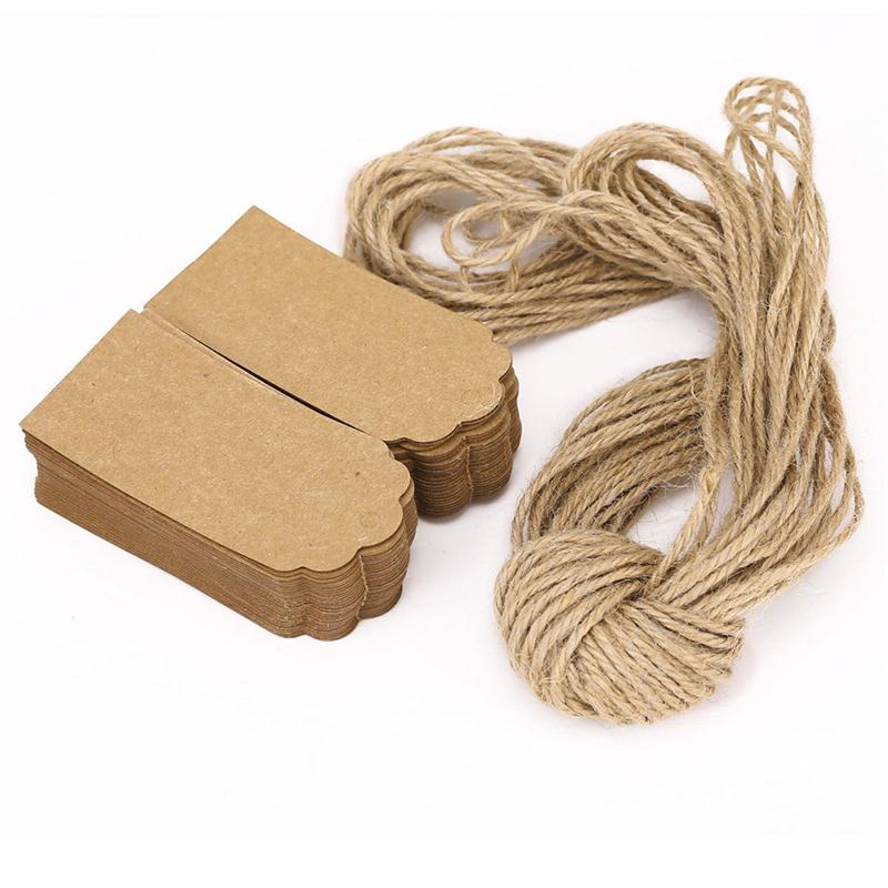 100pcs Rustic 45*90mm With 10M Rope Kraft Paper Gift Tags Card Wedding Label Blank Luggage Mini Paper Card With Strings