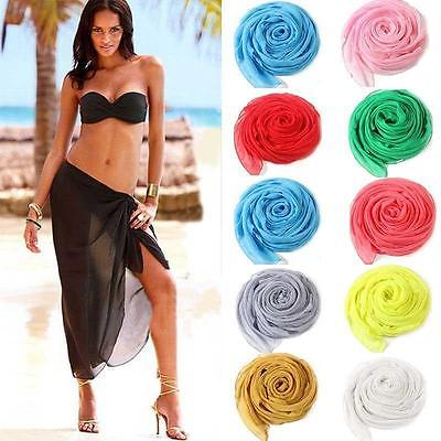f22dadc33c Women Sexy Chiffon Wrap Dress Sarong Pareo Beach Bikini Swimwear Cover Up  Scarf