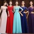 Красный кружева королевский синий длина пола мать жениха невесты шифона платье осень платья строки для свадьбы с рукавами B3757