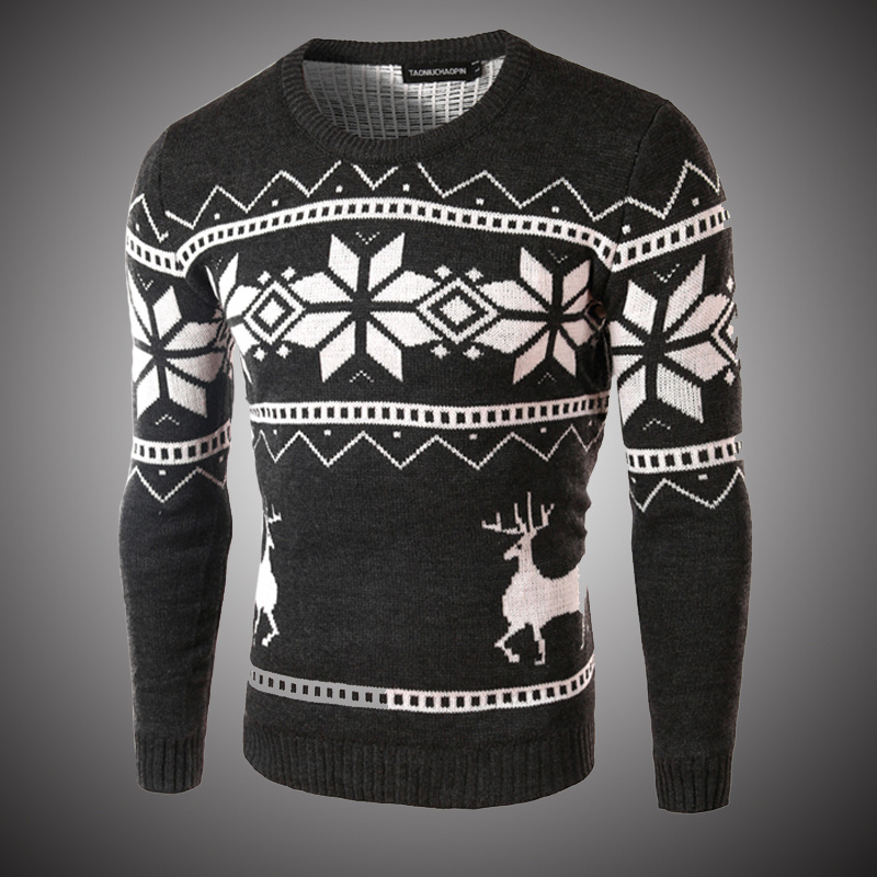Animal Printing Fall Sweaters Slim Fit Men Casual Hip Hop Pullover 2018 Autumn Spring O Neck Warm Wool Sweater for Men Deer S221