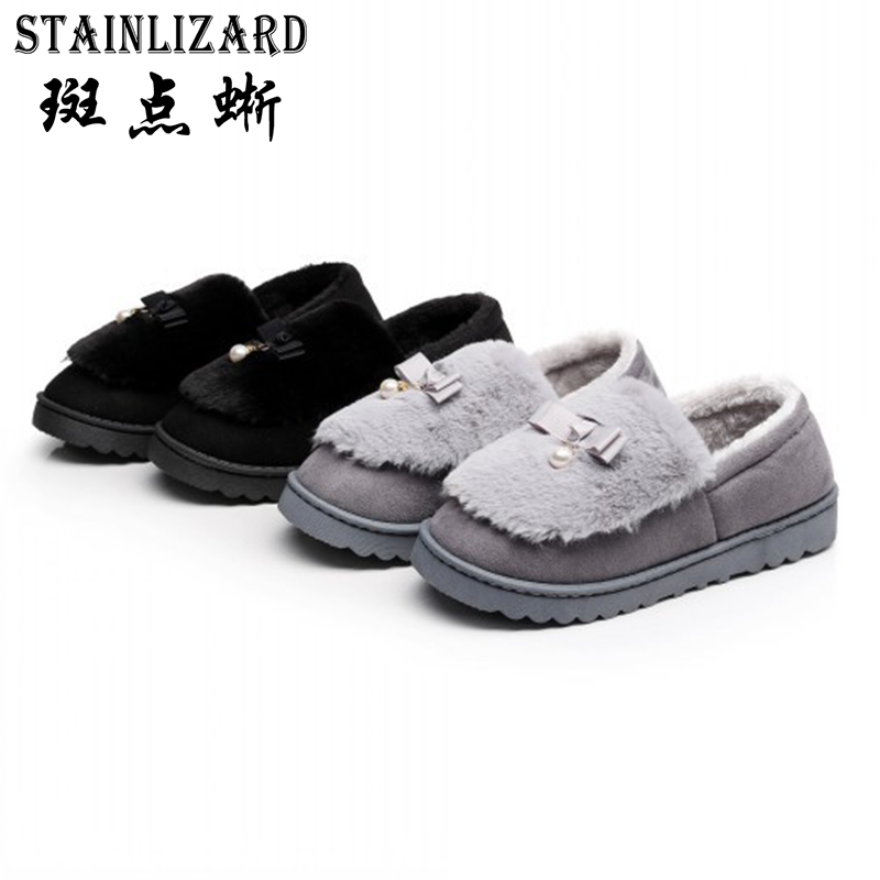STAINLIZARD Women Slippers Shoes Winter Soft Plush Women Indoor Shoes Casual Female Non-slip Cotton Footwear Home Ladies HDT1048 warm flock women home slippers winter cute indoor house shoes casual plush flat women shoes soft bottom female footwear dx1048