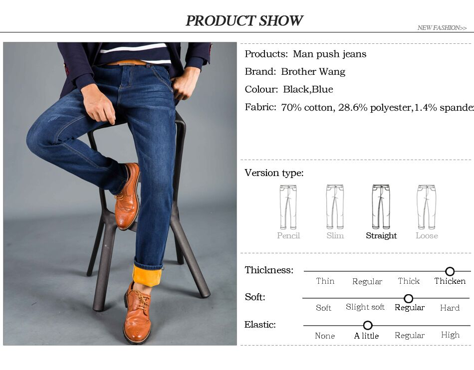 2762a1f3c8 2018 Winter New Men s Warm Jeans Business Casual Elasticity Thick ...