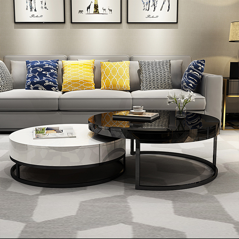 Modern Minimalist Simple Coffee Table Nordic Living Room Small Tempered Glass Coffee Table Creative Fashion Round Tea Table