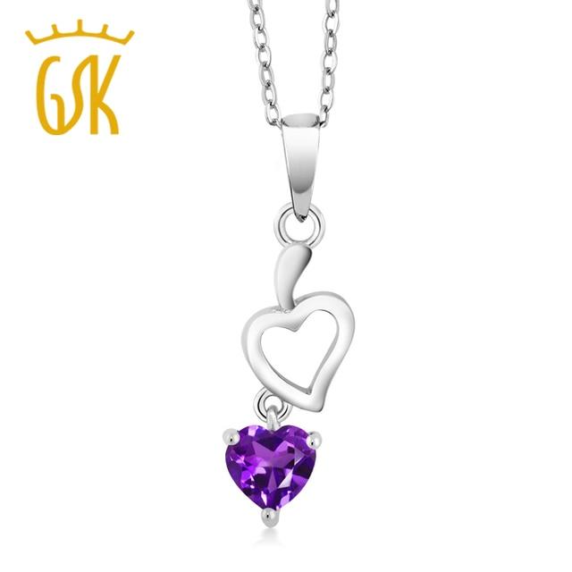 bfdb2f58b946 Precioso Doble en Forma de Corazón Púrpura Amatista 925 Colgante de Collar  de Regalo del Día