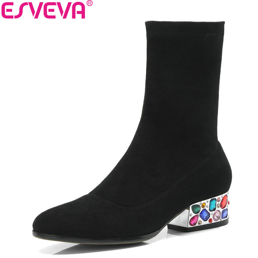 ESVEVA 2019 Women Boots Square Heels Mid-calf Boots Med Heels Slip on Autumn Shoes Round Toe Elegant Boots Woman Size 34-39 esveva 2019 women shoes mid calf boots round toe med heels winter boots short plush slip on height increasing snow boots 34 43