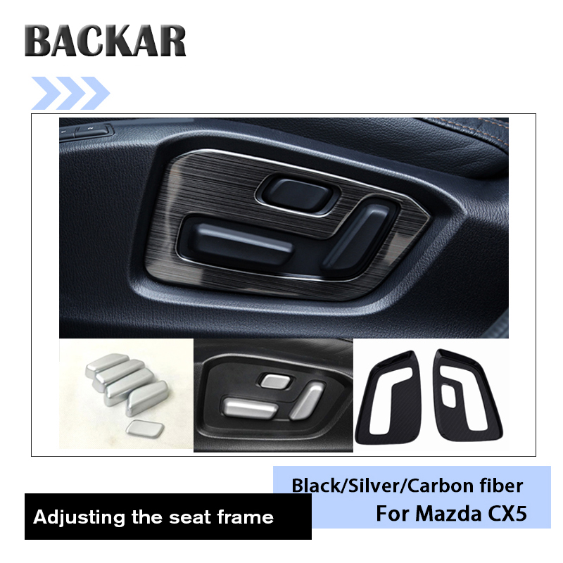 BACKAR Car Inner Seat Adjustment Frames Covers Decorative Protective Stickers For <font><b>Mazda</b></font> <font><b>CX</b></font>-<font><b>5</b></font> CX5 <font><b>CX</b></font> <font><b>5</b></font> <font><b>2017</b></font> <font><b>2018</b></font> KF <font><b>Accessories</b></font> image