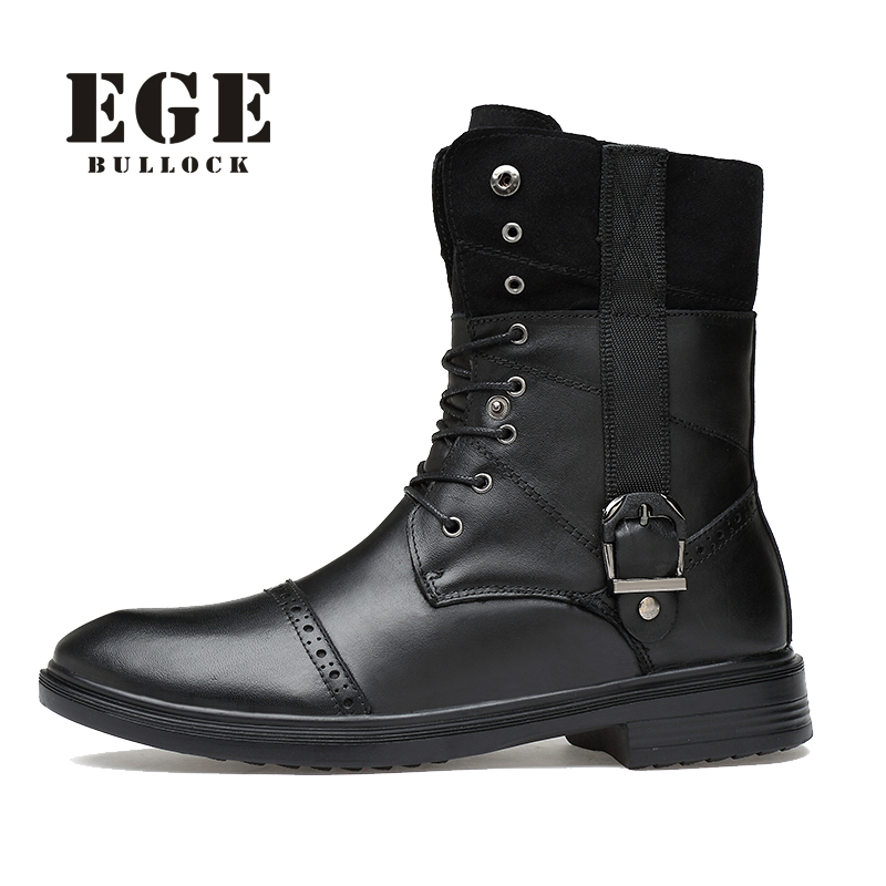 EGE Brand Handmade Genuine Leather High Quality Winter Fur Keep Warm Men Boots Round Toe Mid-Calf Lace-Up Solid Boots For Men beango fashions snow boots women s winter fur rubber genuine leather lace up flats round toe mid calf new comfort warm boots