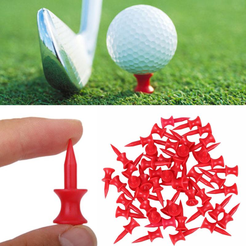 Relefree New Upgraded Version 100Pcs Sports Double-deck Red Golf Tees Range For Glof Club Training 30MM Golf Traning Tee