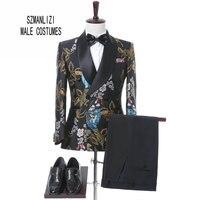 2017 Nowy Elegancki Marka Mężczyzna Garnitur Ślubna Kwiat Podwójne Piersi garnitur Dla Mężczyzn Slim Fit Groom Smokingi Blazer Kostium Homme Mariage