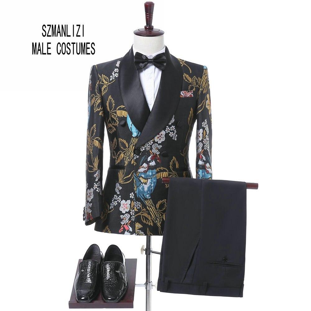 2018 New Elegant Brand Wedding Mens Suit Flower Double Breasted Suit For Men Slim Fit Groom Tuxedo Blazer Costume Homme Mariage
