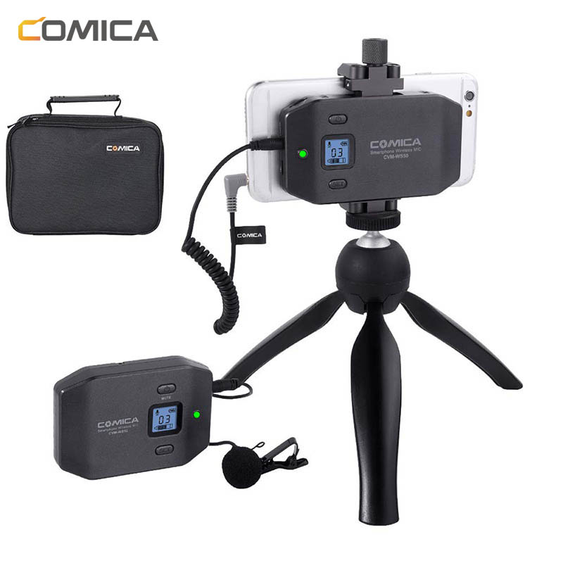 Wireless Microphone Comica CVM-WS50 Wireless Lavalier Lapel Microphone System For IPhone Smartphones For Canon Nikon Camera