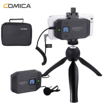 Wireless Microphone Comica CVM-WS50 Lavalier Lapel System for iPhone Smartphones Canon Nikon Camera