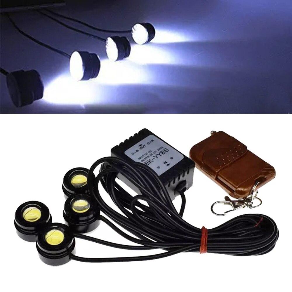Car SUV Wireless Remote Control 4 in1 12V <font><b>Eagle</b></font> <font><b>Eye</b></font> Hawkeye <font><b>LED</b></font> Strobe Lights Lamp DRL For VW Ford BMW Toyota Chevrolet Nissan