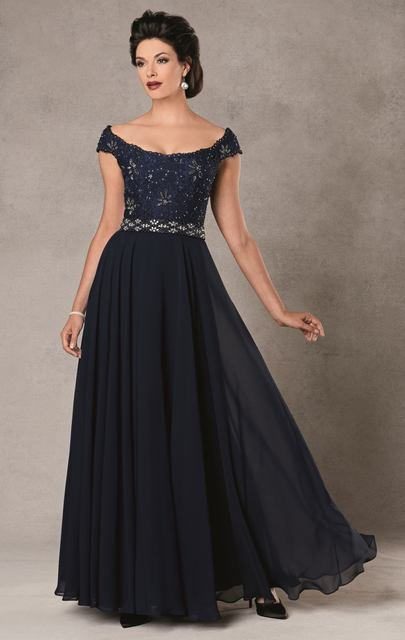 Hot Sell ! Off shoulder Cap Sleeve Chiffon Beautiful Evening Gown ...