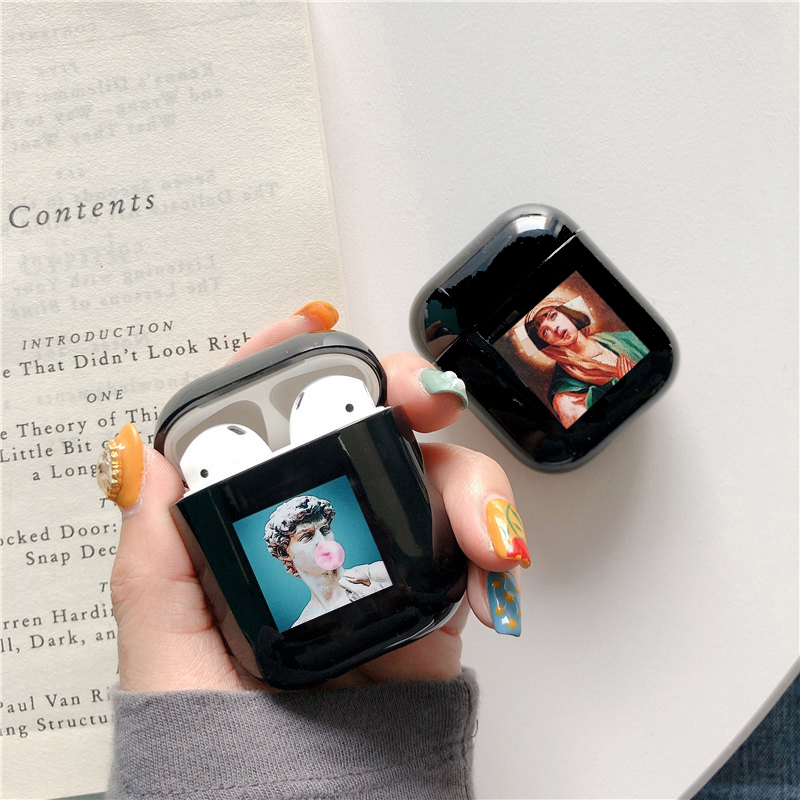 Cute Case For Apple Airpods Case Cartoon Funny Statue Art Wireless Bluetooth Earphone Case For Airpods 1 2 Hard Protective Case