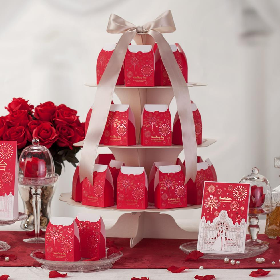 Wholesale 10 Peice Ruby Wedding Favor Boxes With Beautiful